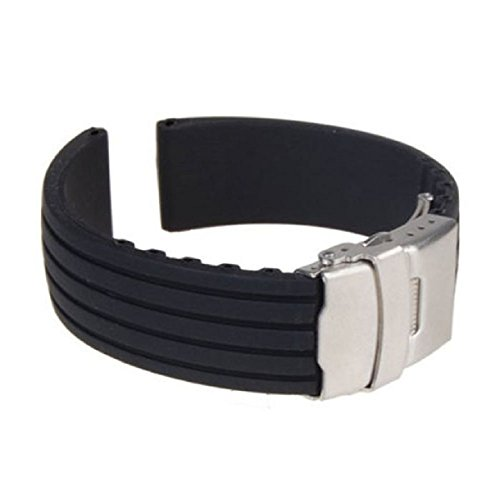 Sannysis(Tm) 1Pc Waterproof Silicone Rubber Watch Strap Band Deployment Buckle(24Mm)