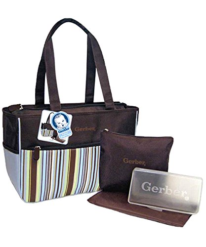 "Gerber ""Stripes Aplenty"" 4-Piece Diaper Bag Set - blue/brown, one size - 1"