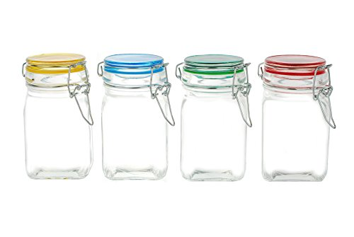 Kinetic 57115-J 4 Piece GoGreen Jar Set with Jewel Colored Lid, Mini, Glass (Glass Clamp Lid compare prices)