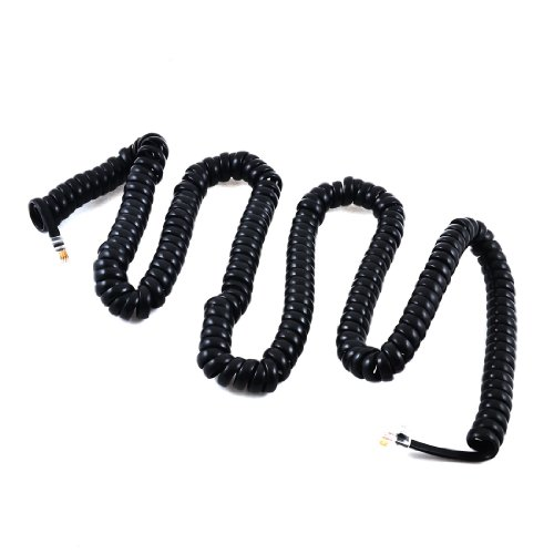 7M Stretchable Rj9 4P4C Plug Coiled Telephone Handset Cable Black