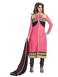 Manvaa Women's Pink Black Embroidered Chudidar Dress Material