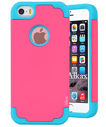 iPhone SE Case , iPhone 5S Case , iPhone 5 Case , Alkax Dual Layer Armor Heavy Duty Rugged Defender Slim Fit Hybrid Series Protective Cover Soft-Interior+Hard Bumper for Apple iPhone SE 5S (Hot pink) (Hot Pink Otter Box compare prices)