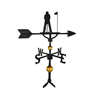 Montague Metal Products 32-Inch Deluxe Weathervane with Satin Black Putter Ornament