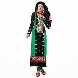 Pavani Women's Georgette Semi Stitched Dress Material (D1500126_Green_Free Size)