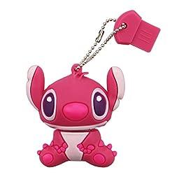 Litop® 64GB Cute Cartoon Stitch Shaped USB 2.0 Memory Disk U Disk with Key Chain Hole (Pink, 64GB)