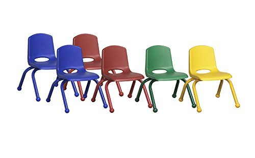 ECR4Kids School Stack Chair with Matching Powder Coated Legs/Ball Glides (6-Pack), 10-Inch, Assorted Colors