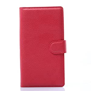 Newtronics Red Pink Premium Luxury PU Leather Wallet Flip Cover Case With Stand Function For LG G Flex 2 H950