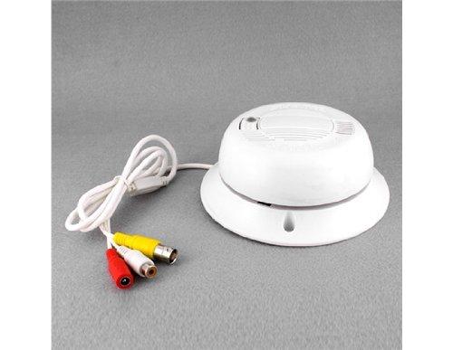 Vayne Détecteur de fumée fonctionnel caméra couleur réel alarme (Blanc)