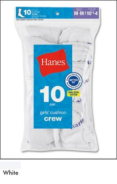 10-Pack Hanes Girls Red Label Cushion Crew P10 641/10, White, M