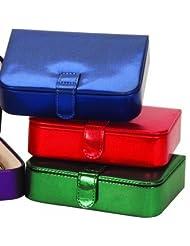Metallic effect earring or charm bracelet jewellery organizer box (Red)