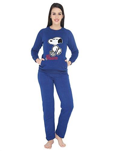 Valentine-Womens-Blue-color-Fleece-Graphic-Print-Top-Pyjama-Set