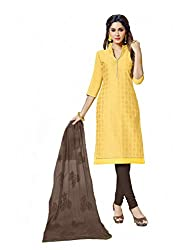 LOVELY LOOK Latest Yellow Embroidered Dress Material