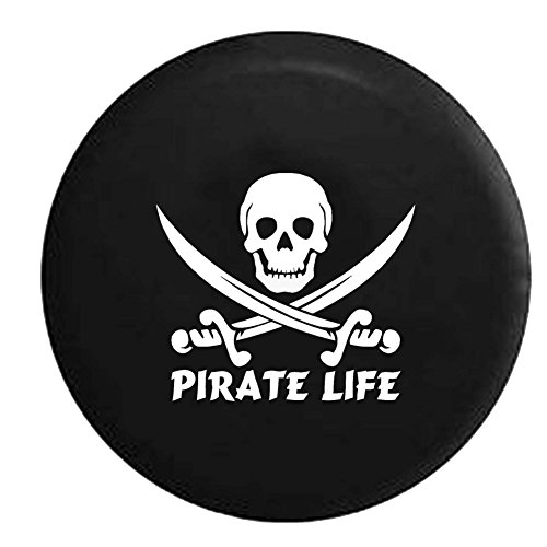 Pirate Life Skull & Swords Saltwater Edition Spare Tire Cover OEM Vinyl Black 32-33 in (Pirates Jeep Tire Cover compare prices)
