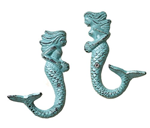 Set-of-2-Nautical-Cast-Iron-Mermaid-Wall-Hooks-Aqua