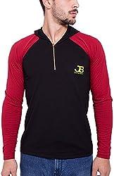 Jangoboy Men's Regular Fit Sweatshirt (F4U-33_L, Black And Maroon, L)