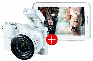Samsung NX1000 Systemkamera (20 Megapixel, 7,6 cm (3 Zoll) Display) inkl. 20-50mm F3.5-5.6 ED II Objektiv weiß mit Tab 2 7.0 weiß