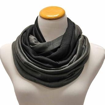 Luxury Divas Black & Grey Two Tone Jersey Knit Infinity Tube Neck Scarf