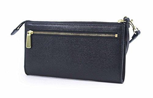 Coach  Coach Signature Zippy Wallet Black Saffiano Leather Clutch