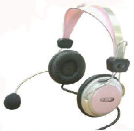 Pink Headphones With Flexible Microphone