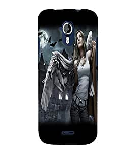 Fuson Feather Girl Back Case Cover for MICROMAX A117 CANVAS MAGNUS - D4044