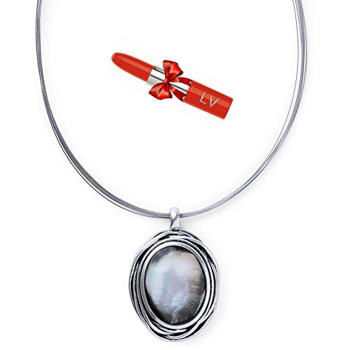 antonio-miro-collar-plateado-de-hilo-metalico-con-colgante-nacarado-ovalado-gargantilla-elegante-con