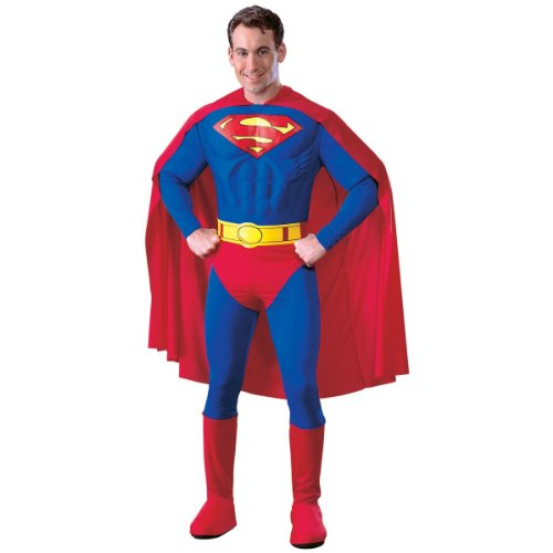 WMU Superman Costume - Adult Muscle Deluxe Small