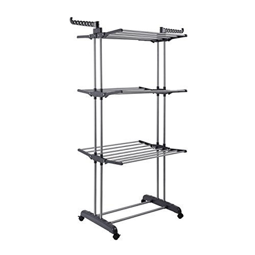 ProAid Collapsible 3-Tier Stainless Steel Heavy Duty Rolling Clothes Drying Rack, Gray (Baby Clothes Dryer Rack compare prices)