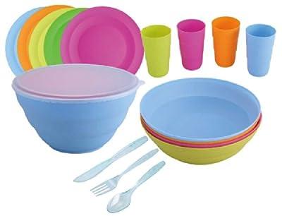 Picknick-Set 26-teilig für 4 Personen (Plastik-Geschirr, Picknick-Geschirr, Camping, Plastik-Besteck, Teller, Becher, Schüssel)
