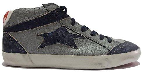 Sneaker Ishikawa 2017 - Scarpa mezzo stivaletto in pelle grigia con stella e punta in pelle blu