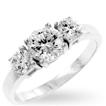 RIGHT HAND RING - Classic White Gold Rhodium Bonded Ring with Triple Round Cut Clear CZ in a Prong Setting