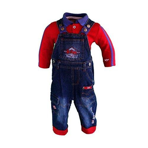 Lee Cooper-Set due pezzi con salopette e Maglietta polo a maniche lunghe, da bambino, ragazzo rosso 24 mesi