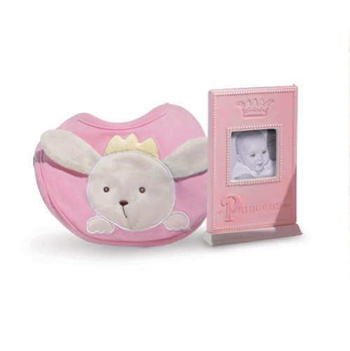 Pink/Blue Princess Photo Frame & Bib Set - 1