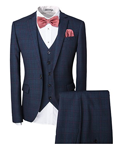 Mens-One-Button-Designer-Luxurious-Suits-Plaid-Tuxedos-3-Piece-Set-Wedding-Prom-Party