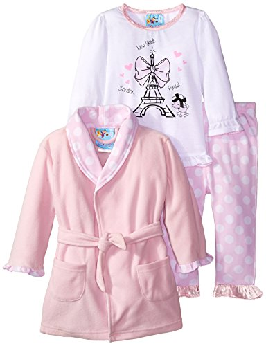 Baby Bunz Baby Girls' 3 Piece Paris Dreamer Robe and Pajama Set, Pink, 12 Months