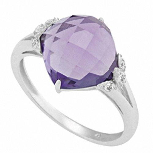 Aquarius: Jan-Feb 9ct White Gold 2 or 3 Stone Ring 5ct Round Brilliant Amethyst 0.05ct J/SI Diamond