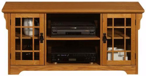 Cheap Craftsman Glass door Wide screen Tv Stand With Open Storage (B001XZZ7JK)