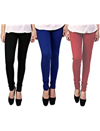 Snoogg Womens Ethnic Chic Inspired Churidar Leggings In Black, Blue And Maroon