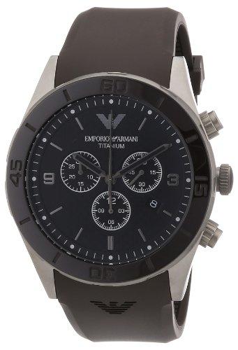Emporio Armani AR9501 - Reloj de cuarzo para hombre, correa de goma color marrón