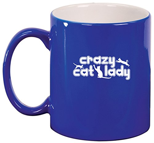 Ceramic Coffee Tea Mug Crazy Cat Lady (Blue)