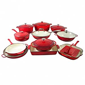 Le chef 19 piece enameled cast iron red for Naaptol kitchen set 70 pieces