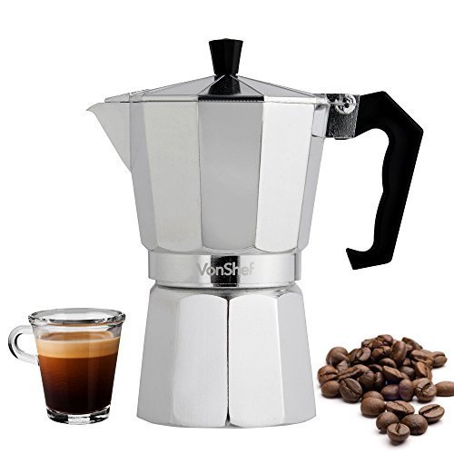 Great Features Of VonShef Espresso 3 or 6 Cup Coffee Maker Stove Top Moka Macchinetta (6 Cup)
