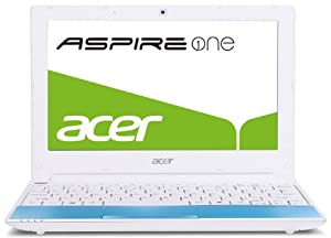 Acer Aspire One Happy Series 25,6 cm (10,1 Zoll) Netbook (Intel Atom N450, 1,6GHz, 1GB RAM, 250GB HDD, Intel GMA3150, Bluetooth, Win 7 Starter / Android) blau