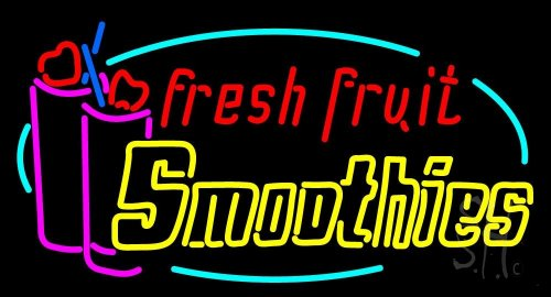 """Oval Fresh Fruit Smoothies Neon Sign 20"""" Tall X 37"""" Wide X 3"""" Deep front-600343"""