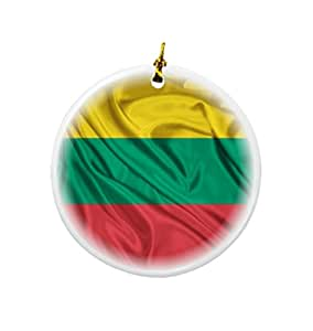 Buy rikki knight lithuania flag design round porcelain two - Buy christmas decorations online india ...