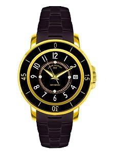 André Belfort 410054 - Reloj analógico de mujer automático con correa de cerámica negra - sumergible a 50 metros