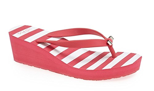 Coach Loralyn Wedge Bow Thong Sandal Slide Flat Flip Flop Pop 7 Pink (Coach Slide Wedges compare prices)