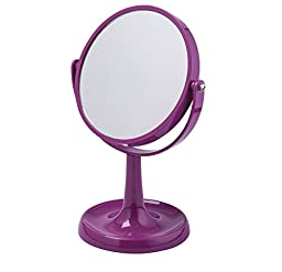 Purple Vanity Makeup Mirror 7-Inch Double-Sided with 1X and 3X Magnifying, ABS Risen (Purple)