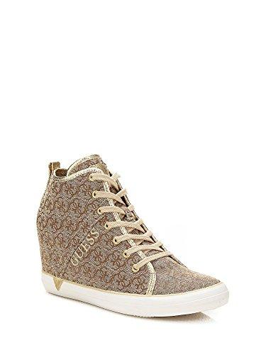 Guess Sneaker Donna Jilly Zeppa Cm 7 Tessuto logato Beige_39