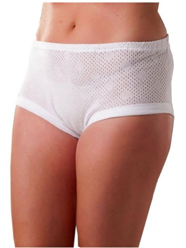 3 Pairs Ladies Womens White Cotton Cuff Leg Full Briefs Size OS