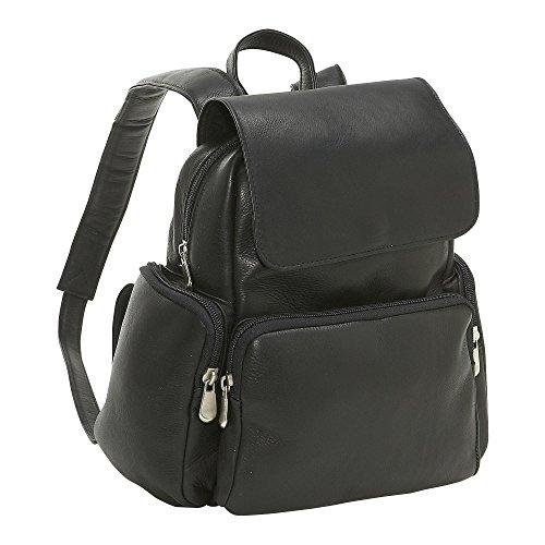 le-donne-leather-womens-multi-pocket-back-pack-purse-black-medium